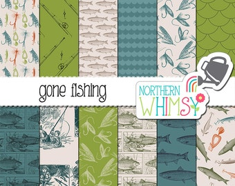 Fishing Digital Paper - vintage fish, rod, fly, and lure patterns in blue, green, and tan - perfect for Father's Day!  Commercial use OK
