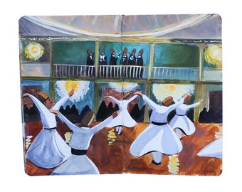 "Fine Art Print of Painting from Artist Travel Journal – ""Whirling Dervishes in Turkey"""