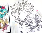 Mermaid Coloring Page - Single Page