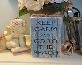 """Wood Sign, """"Keep Calm and Go To The Beach"""", Beach Decor, Home Decor"""