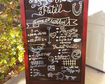 "1st birthday fun facts sign (chalkboard is not included) - 18"" x 30"""