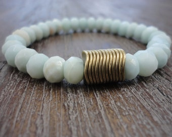 Amazonite Gemstone Stacking Bracelet/Brass Discs/