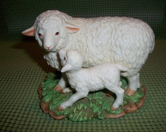 Homco Sheep with Baby Lamb Figurine