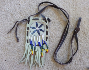 Hippie Leather Pouch  Necklace Vintage Tribal Fringed Beaded Pendant 1980's