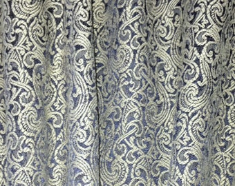Antique Gold and Black Brocade Fabric-By-The-Yard