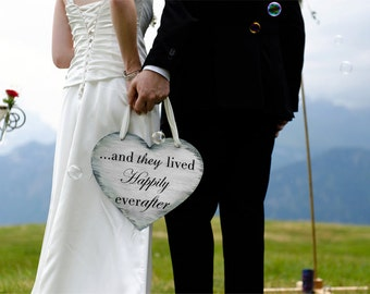 """Vinyl """"And they live happily ever after"""" Heart Wedding Sign"""