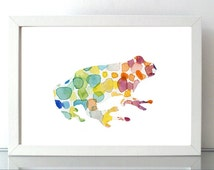 Frog Watercolor painting - Giclee Print - Nursery decor - Home Decor - Animal art - rainbow colors Frog Art Frog illustration