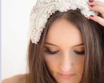 Wedding Fascinator, headpiece, bridal,sequins,pearls