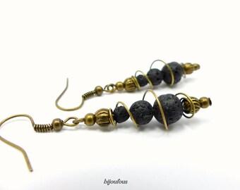 Volcanic stones, bronze metal earrings