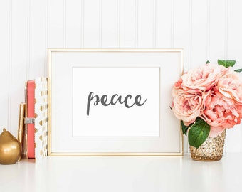 Peace Printable Art | Wall Art Print | PeacePrintable | Motivational Print | Gold | Printable Wall Art | Inspirational Quote Art | 8 x 10