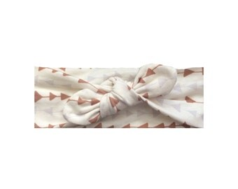 Grey and brown arrow top knot knit headband