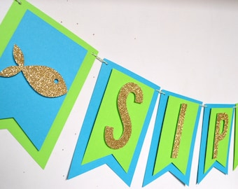 Sip & Sea Shower Banner Lime Green Teal Baby Shower Sip and See Gold Glitter Fish