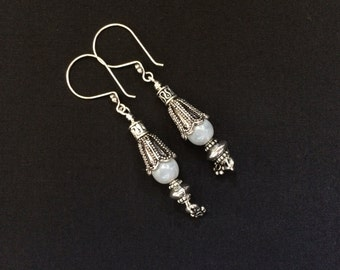 Sterling Silver Grey Czech Glass and Oxidized Silver Dangle Earrings