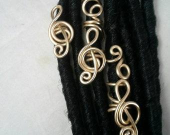 3 Pc Set Treble Clef Dreadlock Jewelry, Hair Jewelry, Loc Coils, Dreadlock Jewelry, Dreadlock Beads, Dread, Wire  Loc Jewelry,  Braid Beads