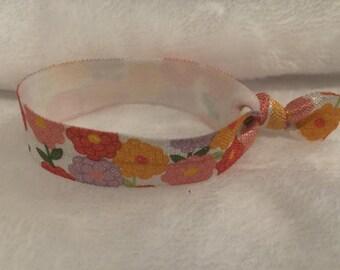 Flower Fold Over Elastic Hair Tie/ Elastic Bracelet