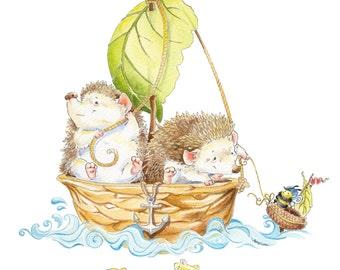 Watercolor Nursery Art. When Hedgehogs Go to Sea -  Hedgehog boat and Bee Watercolor Giclee Print, Original Artwork, Kid's Wall art