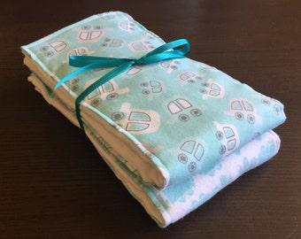 Baby boy dump truck & car cloth diaper burp cloth set