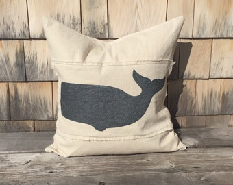 "Set of 2, Natural Canvas Whale Pillow Cover in Black Pearl, 18"" x 18"" or 20"" x 20"""