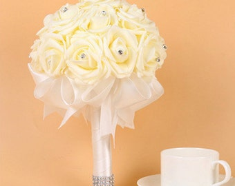 Wedding Roses Bridal Bouquets with Ribbon Artificial Bridal Bouquet Bridesmaids Bouquet Crystals And Bows