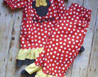 Girls Minnie Mouse Outfit; Minnie Mouse Boutique Style Outfit; Minnie Boutique Style Outfit; Toddler Boutique Outfit