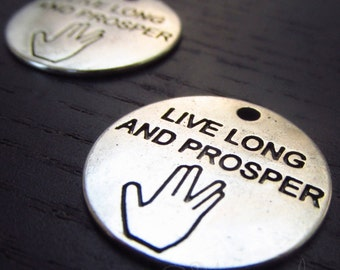 Star Trek Charms - 5/10/20 Live Long And Prosper Vulcan Salute Pendants CC0621 - Exclusive Item!