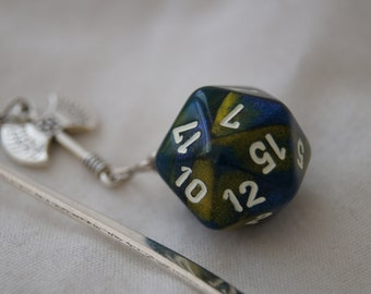 Marbled Blue & Yellow D20 and Ax Bookmark