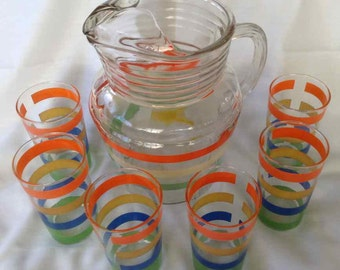Vintage Striped Pattern Glass Pitcher with Six Matching Glasses - Mid-Century