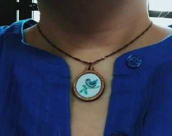 Cross stitch wooden pendant/xmas ornament/charm