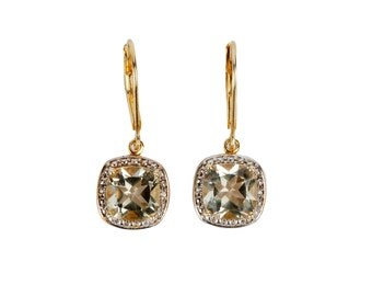 A Pair of Green Amethyst and Gold Vermeil Earrings