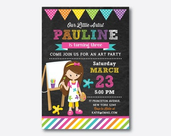 Art Birthday Invitation, Art Invitation, Art Party Invitation, Artist Invitation, Painting Invitation, Personalized, Chalkboard (CKB.471)