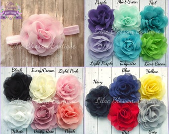 YOU CHOOSE COLORS Baby Headband, Chiffon Flower Headband, Newborn Headband, Baby Girl Bow, Baby Headband, Shabby Headbands, Infant Headband