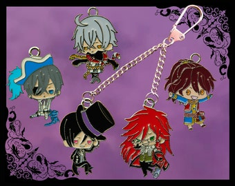 Black Butler build your own double key chain/keyring five characters to choose from!