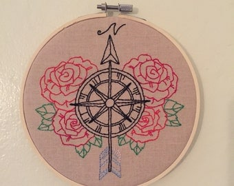 Compass Embroidery Hoop Art