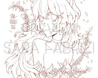 Fox Girl - LINEART for coloring