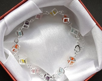 Wunderschönes filigranes Würfelarmband, Silber 925