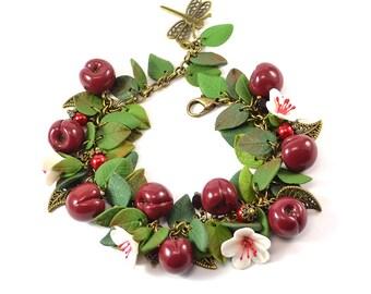 Cherry Berry cha cha charm Bracelet - Polymer clay jewelry - Great gift - Cherry bracelet handmade
