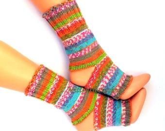 Orange Pink Blue Green Hand Knitted Yoga Socks Stylish Girl's Yoga Socks Summer Socks Dance Socks Leg Warmers Pedicure socks Knit Spa Socks