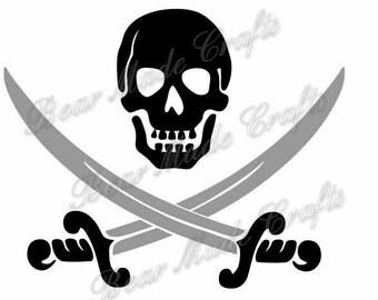 Pirate Skull and swords SVG, Instant Download, cutting file, cricut design space, digital file, SVG, JPEG Download Zip File