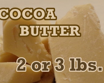 Organic COCOA BUTTER 2 lb or 3 lb size - Fresh! Lush Chocolate Scent! (Certified - QAI - Organic)