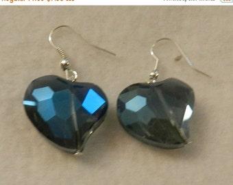 ON SALE Large Blue Crystal Earrings  V1