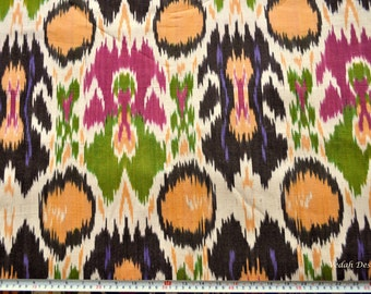 Heavy Ikat fabric Multi colored Ikat cotton fabric by the yard