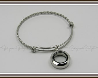 20mm Floating Locket / Glass Locket Expandable Bracelet Stainless Steel