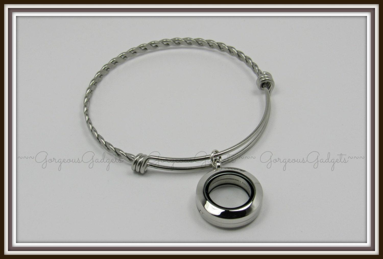 20mm floating locket glass locket expandable bracelet