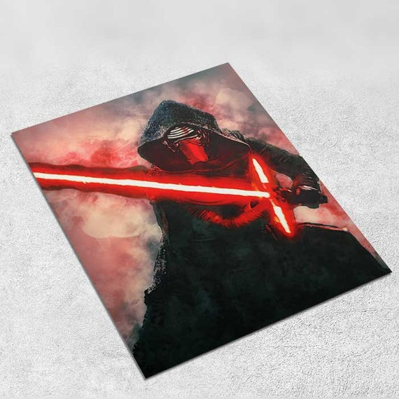 Kylo Ren lightsaber Star Wars Art Print Poster - Episode VII The Force Awakens INSTANT DOWNLOAD 8x10 inches - Ideal Last Minute Gift