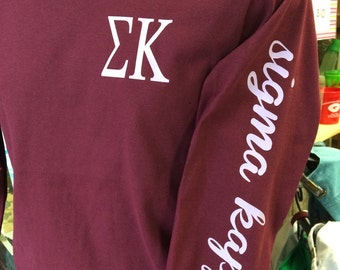 Custom Sigma Kappa Tshirt printed on left sleeve of a comfort colors long sleeve shirt!