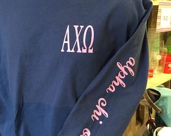 Custom Alpha Chi Omega Tshirt printed on left sleeve of a comfort colors long sleeve shirt!