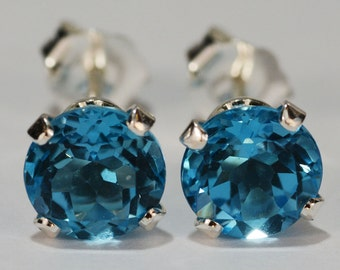Swiss Blue Topaz Earrings~.925 Sterling Silver Setting~Genuine Natural Mined~6mm Round