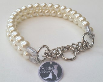 Double Strand Ivory Chunky Pearl Dog Collar,Buckle Collars, Martingale Collars, Dog Pearls, Half Check Collar, UNBREAKABLE GUARANTEE!