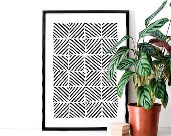 Monochrome Stamped Zig Zag Print