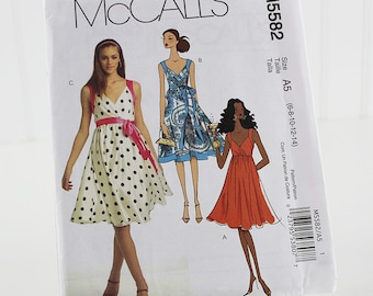 McCall's Summer Dress Pattern, Uncut Sewing Pattern, McCalls 5582, Size 6-14